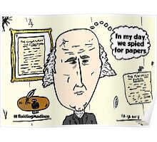 Balding President Madison caricature Poster