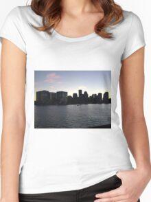 boston harbor sunset Women's Fitted Scoop T-Shirt