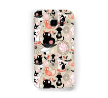 Floral pattern with cats Samsung Galaxy Case/Skin