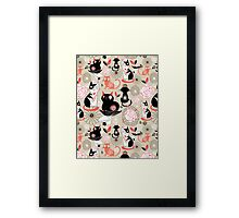 Floral pattern with cats Framed Print