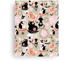 Floral pattern with cats Canvas Print