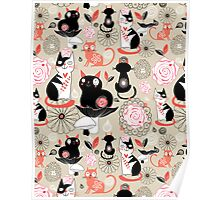 Floral pattern with cats Poster