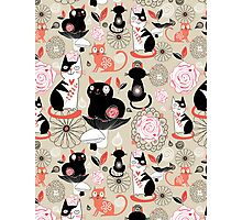 Floral pattern with cats Photographic Print