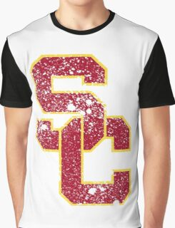 Distressed University of Southern California USC Logo Graphic T-Shirt