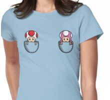 Pocket Toad and Toadette Womens Fitted T-Shirt