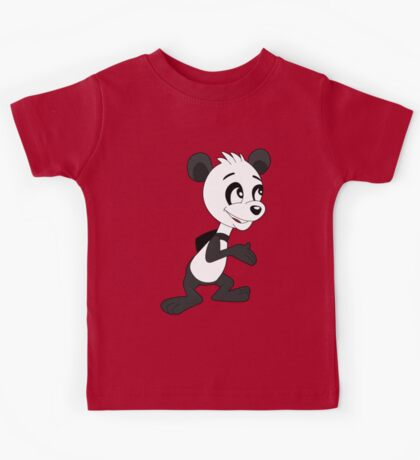 Cartoon of cute happy panda Kids Tee
