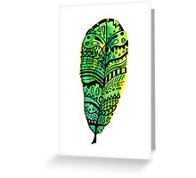 Lost Yellow and Green Feather Greeting Card