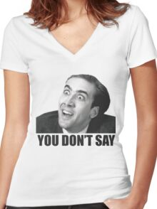 Nicolas Cage Meme Women's Fitted V-Neck T-Shirt
