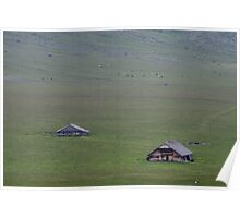 Isolated farm in the Swiss mountains. Poster