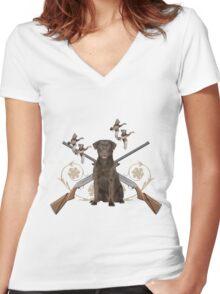 Chocolate Lab Gun dog Women's Fitted V-Neck T-Shirt