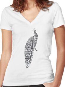 Ornate Peacock Women's Fitted V-Neck T-Shirt