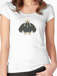 Alien Horror Movie Inkblot Women's Fitted Scoop T-Shirt