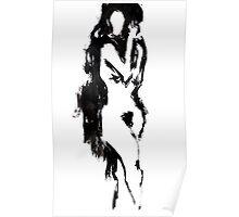 Black brush nude Poster