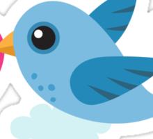 Cute blue bird carrying a heart stickers Sticker