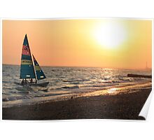 Boat sailing into sunset Poster