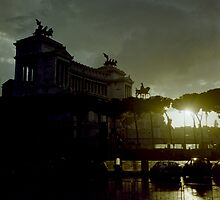 Altare della Patria under a storm at sunset Rome Italy artistic wall art - E' arrivato il Temporale by visionitaliane