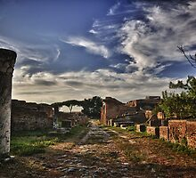 Ancient roman road Ostia Antica ancient ruins and vegetation travel history fine art color wall art - Le strade portano a... by visionitaliane