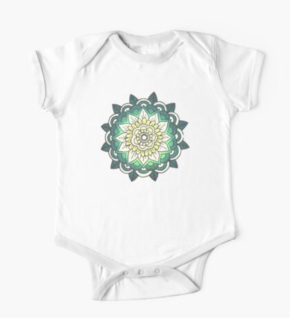 Mandala: Pale Blue/Yellow One Piece - Short Sleeve
