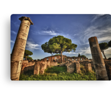 Ostia Antica overgrown ruins with nature and trees history of Italy fine art travel and color wall art - Ciò che rimane Canvas Print