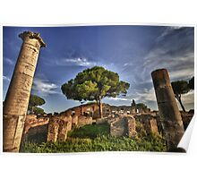Ostia Antica overgrown ruins with nature and trees history of Italy fine art travel and color wall art - Ciò che rimane Poster