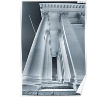 Travel and architecture photography black and white with cyan toning columns of Helsinki Cathedral color wall art - Fredda Bellezza Poster