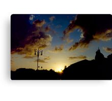 Silhouette of Rome skyline against clouds and sky at sunset travel color - Il Dolce Tramonto Canvas Print