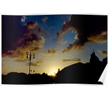 Silhouette of Rome skyline against clouds and sky at sunset travel color - Il Dolce Tramonto Poster