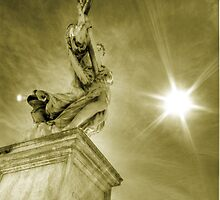 Architecture and Angel statue against the sun Rome travel gold tone wall art home decor - L'Angelo by visionitaliane