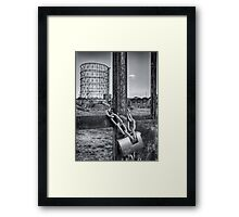 Industrial black and white architecture and chained gate - La Roma che non vedi Framed Print