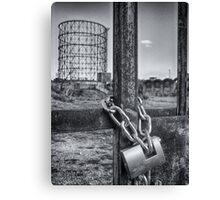 Industrial black and white architecture and chained gate - La Roma che non vedi Canvas Print