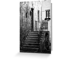 Old staircase street black and white fine art photography from Europe - Gli scalini di un Tempo Greeting Card