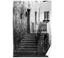 Old staircase street black and white fine art photography from Europe - Gli scalini di un Tempo Poster