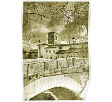 Rome Italy gold toning architecture travel romantic photography - Il Ponte più Antico Poster
