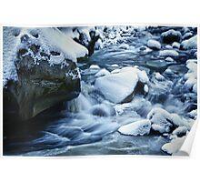 Winter scene snow and frozen creek - wall art home decor color - Acqua e Ghiaccio Poster