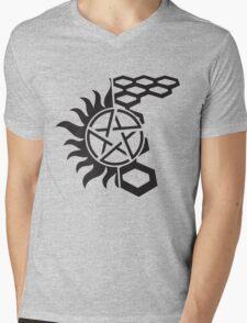 SuperWood Tee - Black Logo Mens V-Neck T-Shirt