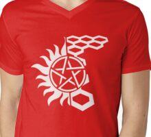 SuperWood Tee - White Logo Mens V-Neck T-Shirt