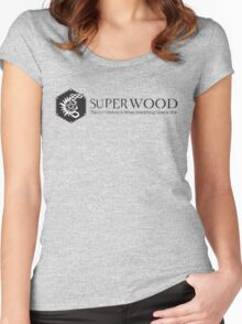 SuperWood 21st Century Tee - Black Logo Women's Fitted Scoop T-Shirt