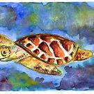 The Happy Turtle - Watercolor  by Violettt