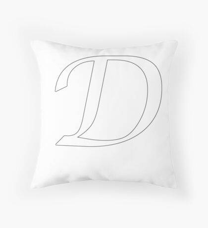 "Calligraphy Letter ""D"" Throw Pillow"