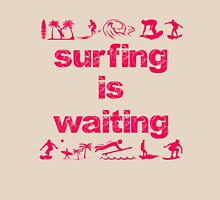 Surfing Is Waiting (pink) Womens Fitted T-Shirt