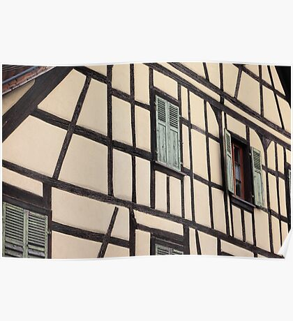 Timbered house, Alsace, France Poster