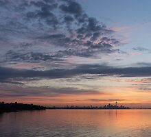 Toronto Skyline in Pastel Blue, Pink, Yellow, Orange and Purple by Georgia Mizuleva