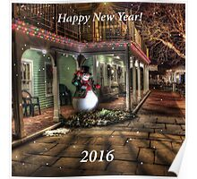 Happy New Year 2016 with Snowman Poster