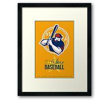 All-American Star Baseball Retro Poster Framed Print