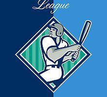 Baseball Hitter Batting Diamond Retro by patrimonio