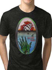 sailor's grave, shipwreck tattoo. Tri-blend T-Shirt
