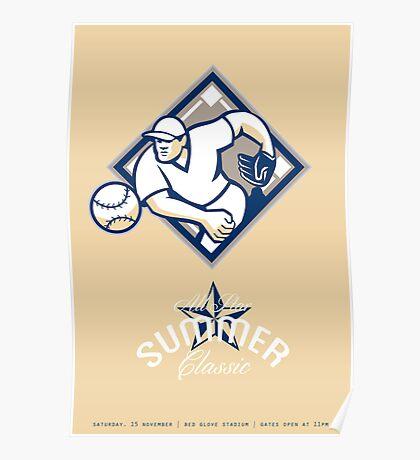 Baseball All Star Summer Classic Retro Poster Poster