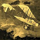 """A sepia digital painting of a Royal Flying Corps Vickers F.B.5  """"Gunbus"""" 1914 by Dennis Melling"""
