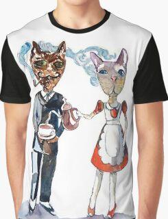 Retro Cats Having Tea Graphic T-Shirt