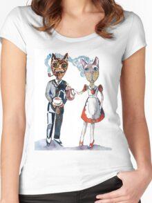 Retro Cats Having Tea Women's Fitted Scoop T-Shirt